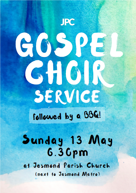 Gospel choir service + BBQ flyer 2018